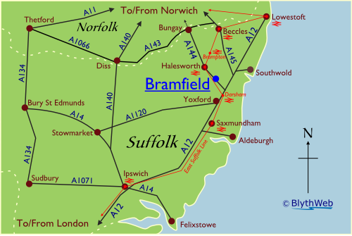 Location of Bramfield in Suffolk