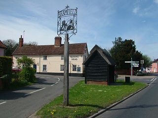 Bramfield village sign and crossroads